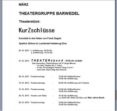 Aufführungstermine 2015
